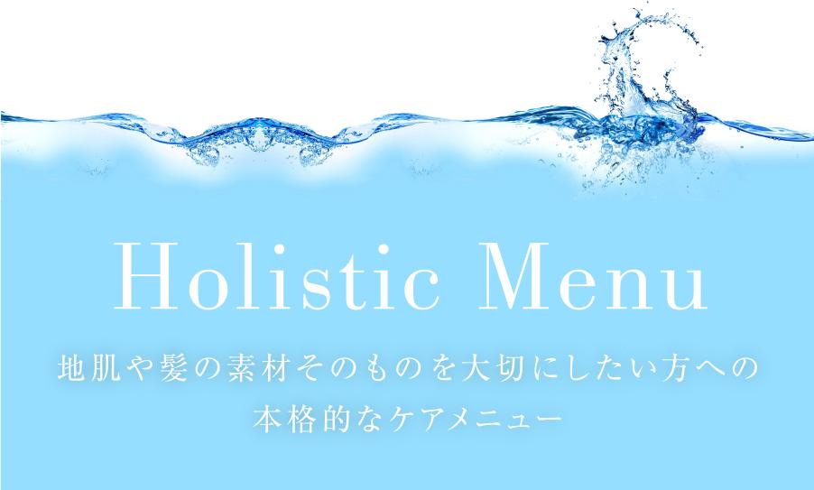Holistic Menu〜 地肌や髪の素材そのものを大切にしたい方への本格的なケアメニュー 〜