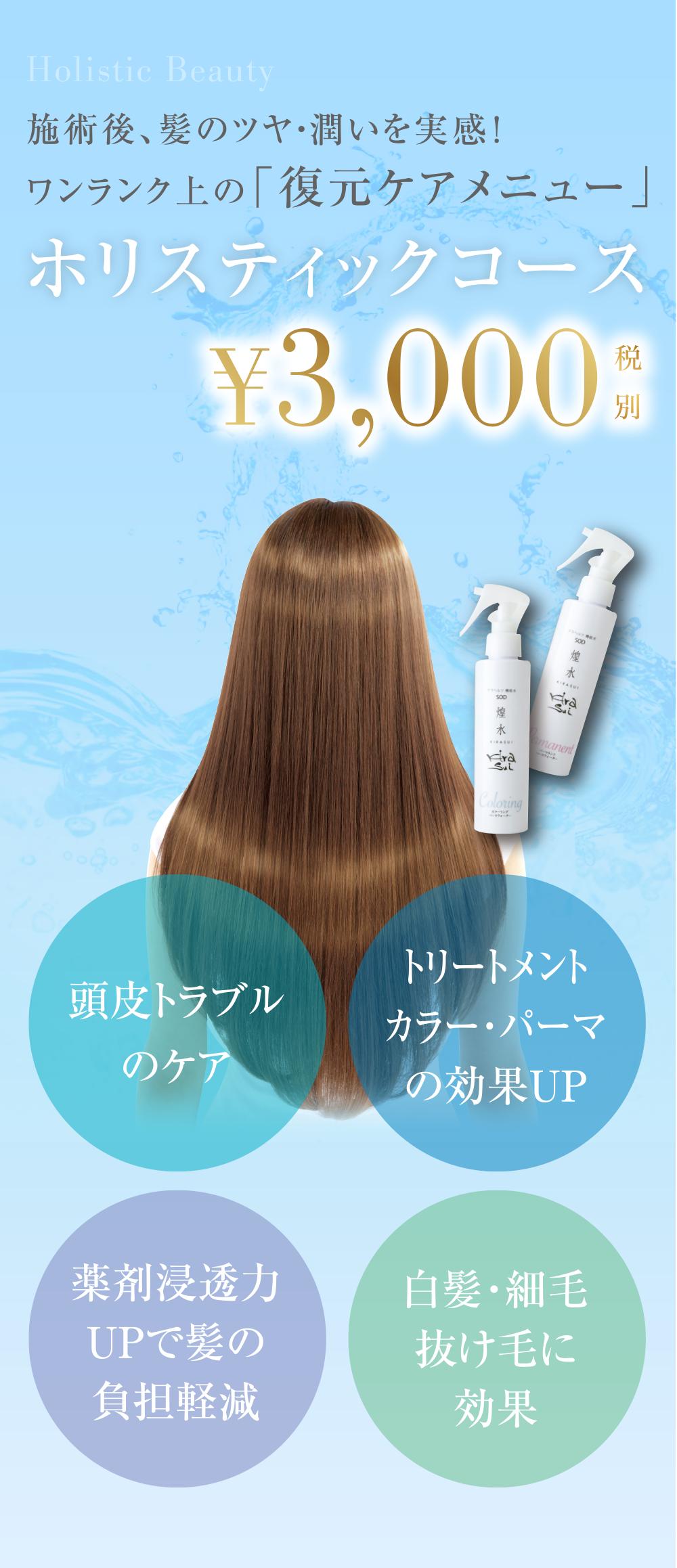 施術後、髪のツヤ・潤いを実感!ワンランク上の「復元ケアメニュー」ホリスティックコース¥3,000(税別)